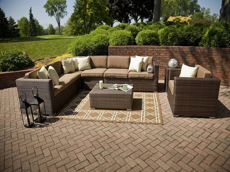 resin wicker patio furniture set 1203 again love the amount of seating for leisurely get togethers pinmydreambackyard