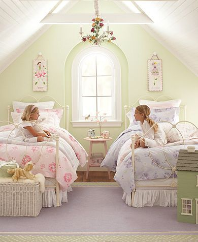 This Pottery Barn Kids shabby chic princess space is perfect for siblings and sleepovers, with cozy floral accents, bright lighting, and dainty framed pictures. Originally pinned by CJ Foxcroft via Bing.com. Visit our Dream Kids Rooms Pinterest Board to see the rest of our dream room picks, including some unique nurseries! Photo Source: Pinterest