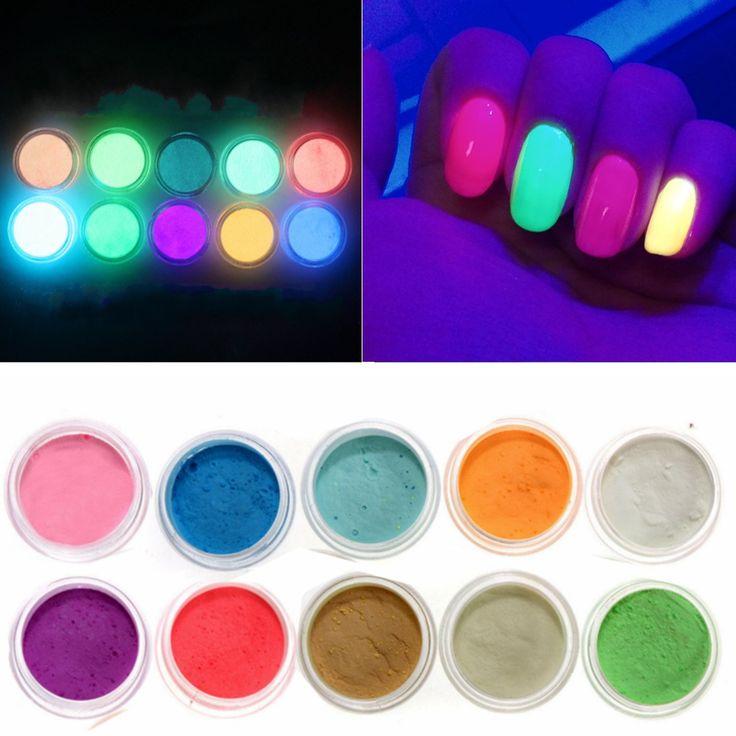 10Colors Neon Acrylic Nail Art Fluorescent Luminescent Glitter Tip Powder Sand Glow In Dark 3D Salon Nails DIY Design Decoration