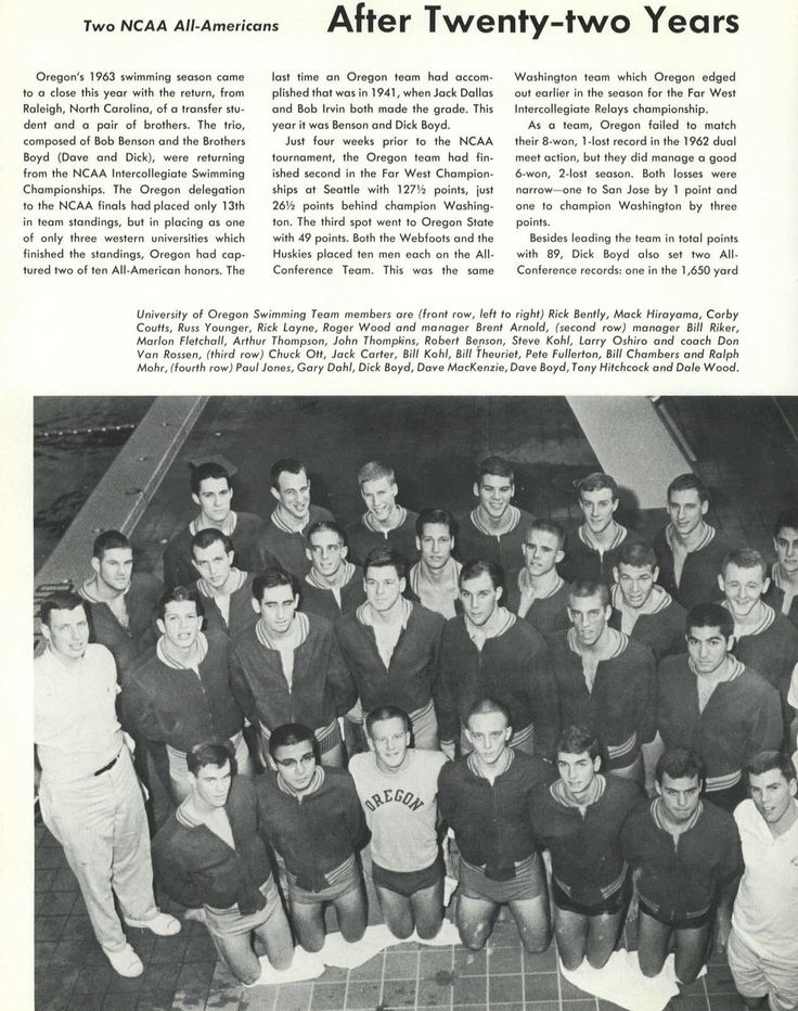 """196263 UO letter winners """"Order of the O."""" From the 1963"""