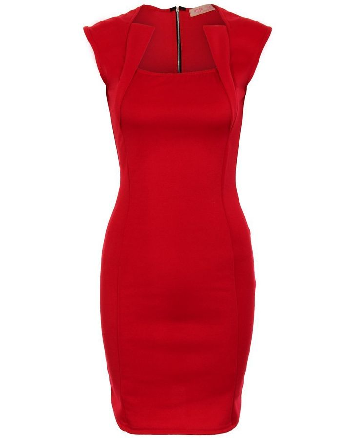 KRISP Womens Panelled Bodycon Dress Shift Pencil Wiggle Formal Work Business Office Party Size 08 10 12 14 16 (10, -Red)