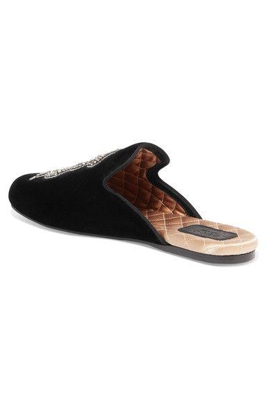 Gucci - Crystal-embellished Velvet Slippers - Black - IT