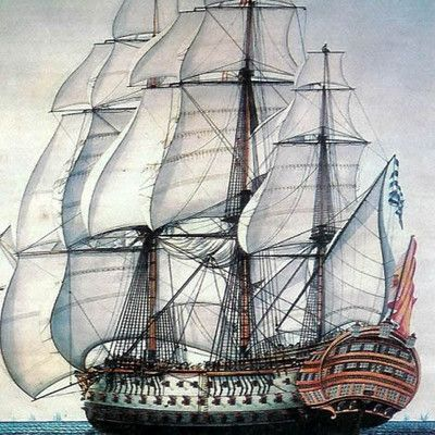 The Santísima Trinidad (pictured) bore the most guns of any ship of the line outfitted in the Age of Sail. How many guns were there? 140.