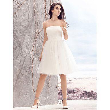 LAN+TING+BRIDE+Corte+en+A+Vestido+de+novia+Vestidos+Blancos+Hasta+la+Rodilla+Sin+Tirantes+Tul+con+Fruncido+–+EUR+€+75.26
