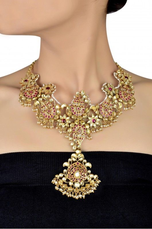 Silver Gold Plated Zircon studded Floral Crystal Pearl Necklace