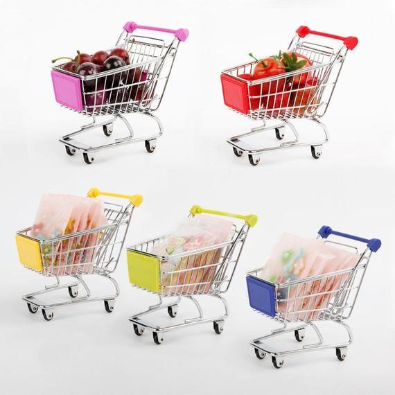 Pink Mini Shopping Cart Dollhouse Miniatures Supermarket Handcart Storage
