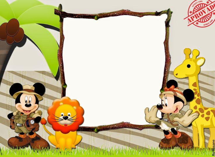 Mickey y Minnie de Safari: Kit para Imprimir Gratis.