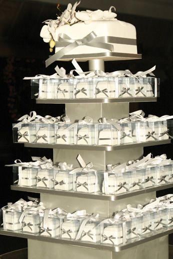 Great Wedding Cake Idea To Have Pieces Already In Small Boxes To Take Home
