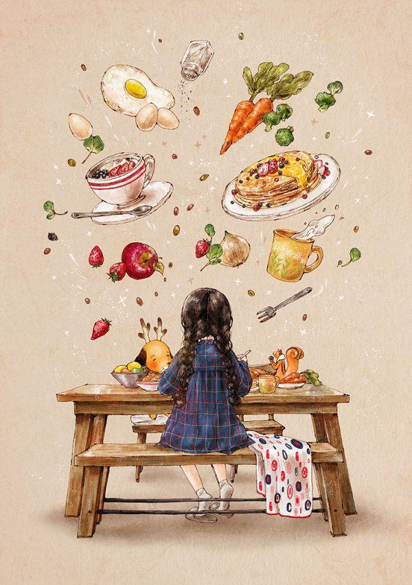 균형 잡힌 아침식사는 하루의 시작을 좌우해요 신선한 달걀 요리와 요거트는 물론, 내가 잘 먹지 않는 당근과 브로콜리도 모두 꼭꼭 씹어 먹어야 하죠 든든한 아침식사 덕분에 오늘 하루도 기운차게 보낼 수 있겠어요!