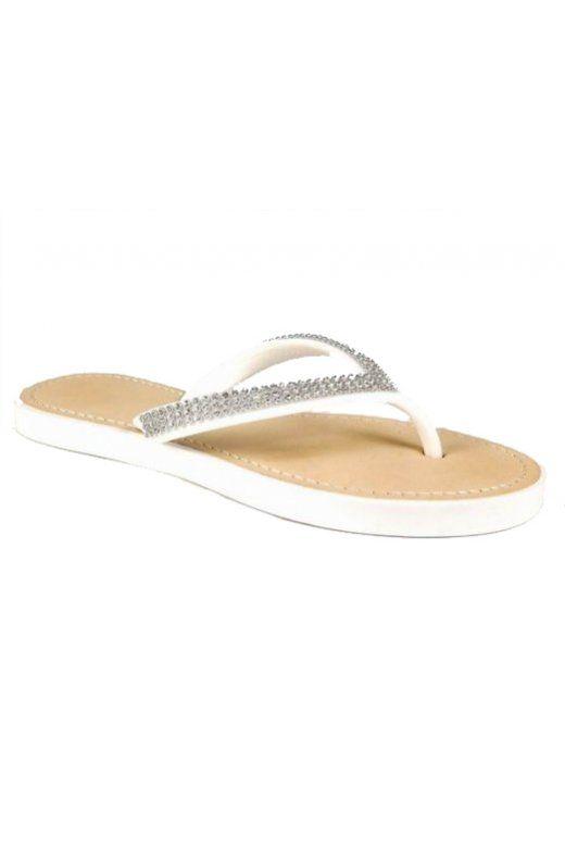Sumi White Diamante Flip Flops