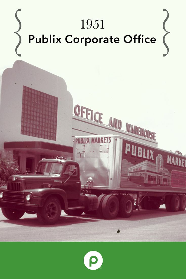 The Publix Corporate office was architecturally inspired by our 1950s style store front—glass block and green marble on the exterior, as seen on the side of the truck.