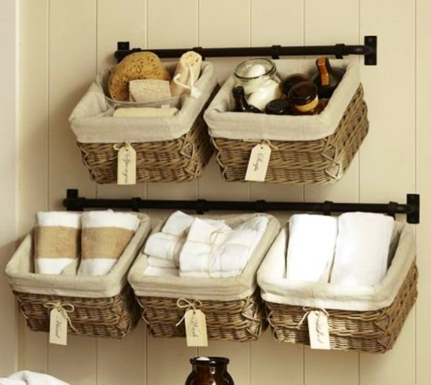 Hanging Baskets In The Bathroom