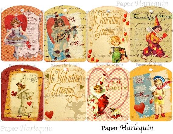 Valentine DIY Printable Vintage Style Tags Set Of 8 Sweet
