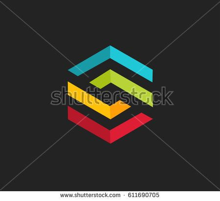 Modern colorful abstract vector logo or element design. Best for identity and logotypes.  hexagon shaped vector symbols.