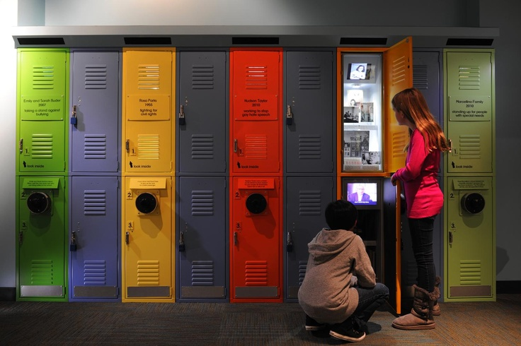 Peek inside school lockers to find surprising stories about Rosa Parks, Anne Frank and others who took a stand at Make a Difference! The Harvey L. Miller Family Youth Exhibition.