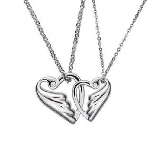 (Free USB Heart Keychain ) Lovebird In Heart Shaped With Crystal Necklace (Couple set) Steel - Two Sizes