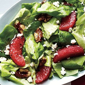 my fav. salad to make! Grapefruit, Walnut, and Feta Salad. use spinach rather than lettuce