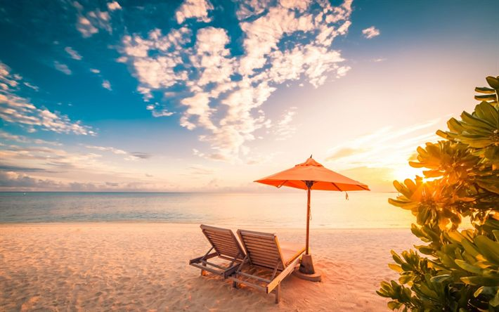 Download wallpapers beach, sand, sunset, chaise lounges, tropical islands, ocean, summer vacation concepts