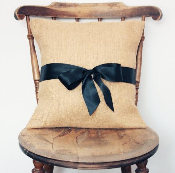 Burlap pillow with black satin ribbon cover super cute! & 12 best Cushion ideas images on Pinterest   Cushion ideas Hessian ... pillowsntoast.com