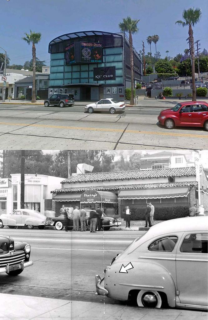 sherry's 9039 Sunset Boulevard 1949 and now | Sherry's was the site of a hit attempt on Mickey Cohen