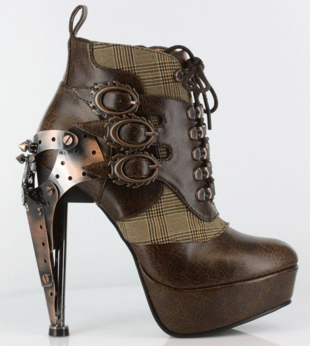 These lace-up steampunk ankle boots.  $188.99 exotichighheels@etsy.com | 17 Pairs Of Geeky Heels Every Fangirl Should Own