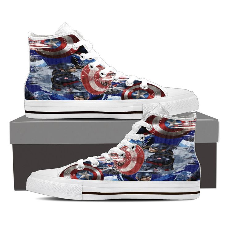 Captain America Ladies High Top White Sneakers Now offered at www.MellowsTreasures.com  Come find your treasures! Free Shipping Anywhere!