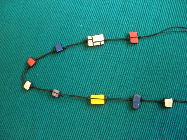 long polymeric clay neckless, inspired by modrian.