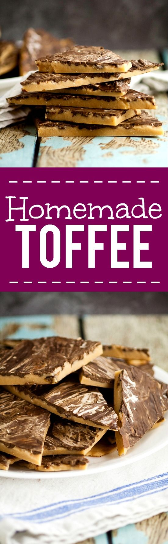 Homemade Toffee Recipe - Who knew making homemade chocolate toffee could be so easy?! With just 4 ingredients, you can make your own sweet, crunchy and delicious toffee to enjoy! This is seriously so good it's like crack!