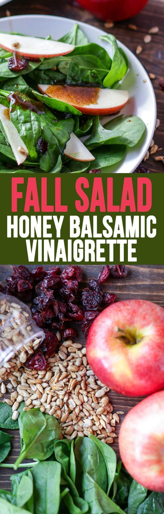 Apple Spinach Salad with Balsamic Vinegar Dressing is a Fall favorite! #salad #applespinachsalad #balsamicvinegardressing #saladdressing #fallsalad #thanksgivingside