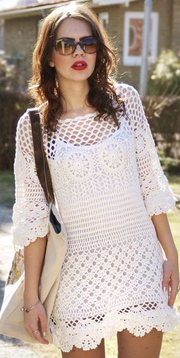 Crochet tunic PATTERN, detailed instructions in ENGLISH for every row, beach crochet tunic