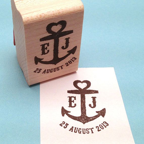 Nautical Save The Date Anchor Heart Custom Rubber Stamp, Personalized Wedding Stamp, Initials, Date
