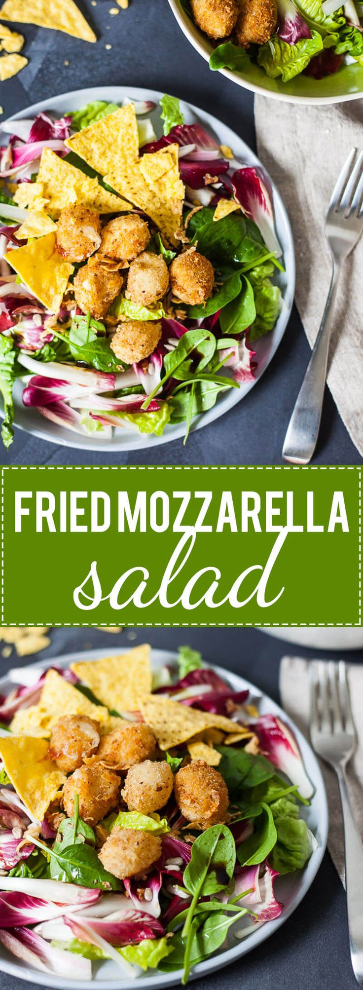 This Fried Mozzarella Salad is perfect when you want to eat healthy, but still, crave something cheesy and fried. | www.vibrantplate.com