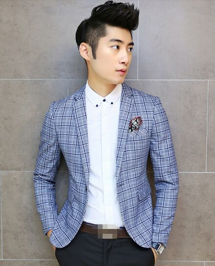 $74.15 -- Mens Blazers Korean Men Blazer Plaid Printing Ball Gown Button Party Wear Handsome Male top Size M-XXL For Sale Discount Online Shopping