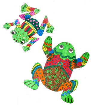 This is a fun project that gives students a chance to get back to drawing. They create a frog shape and fill the body with many colors, lines and patterns. When they are done coloring it in they can cut out the frog! Students are encouraged to use lots of bright colors and do as many patterns as they can think of.