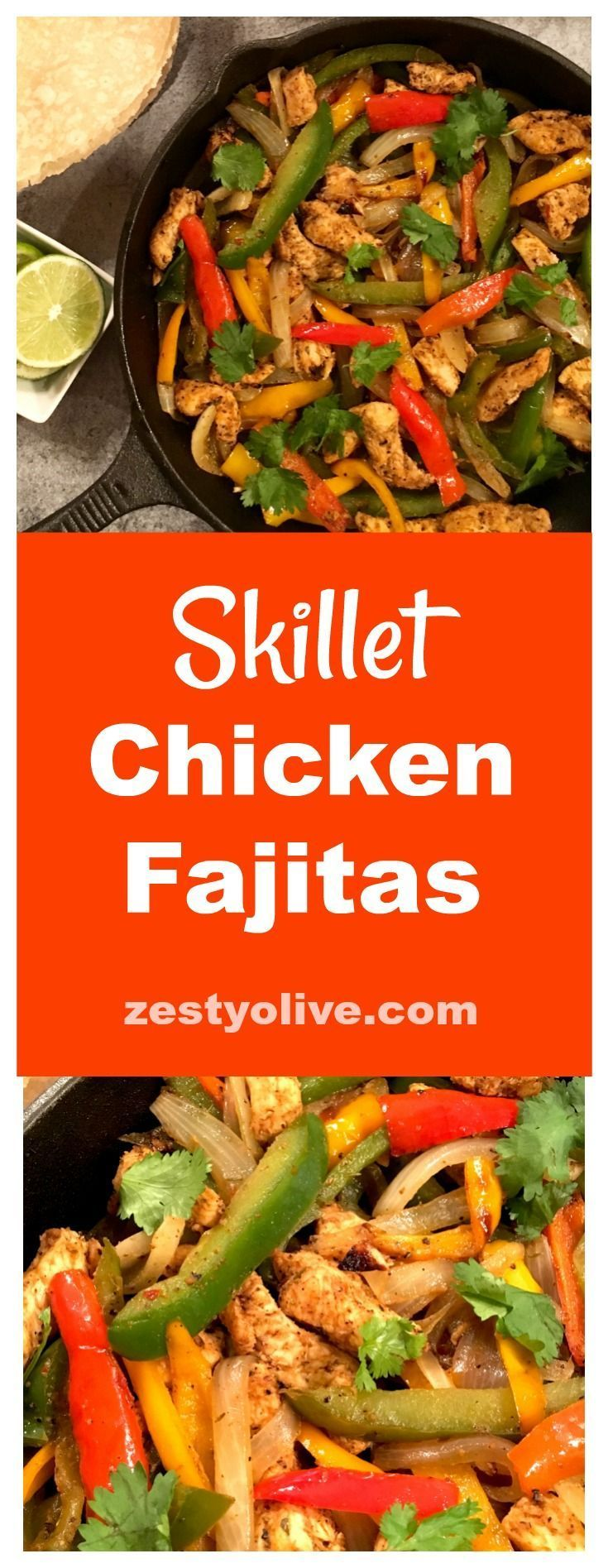 Here's my take on easy, zesty, skillet chicken fajitas, sizzled to perfection in a cast iron skillet. #fajitas #skilletrecipes #chicken #food #recipes #chickenfoodrecipes