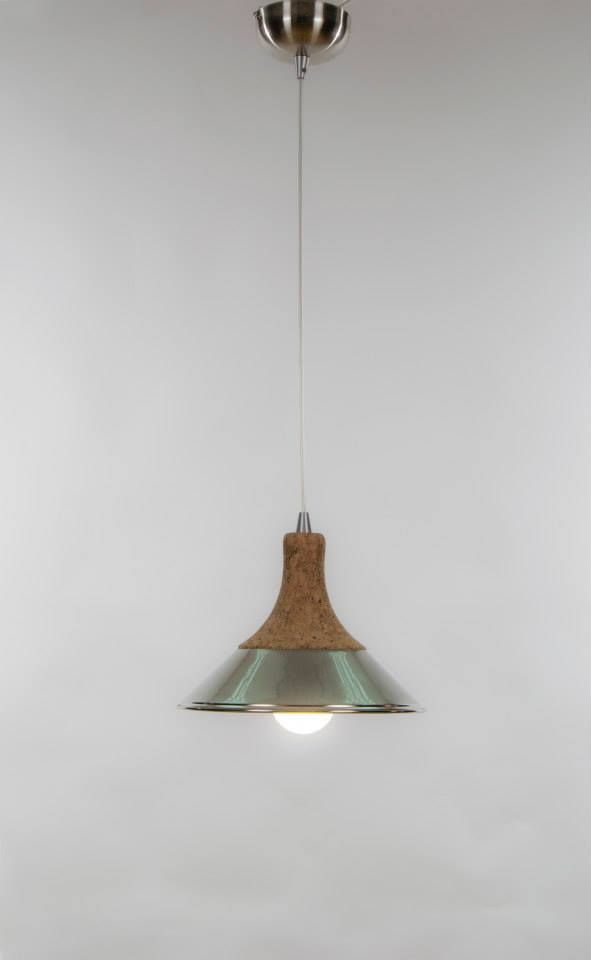 Cork Tadeu Suspension. Natural Cork + Brass. Made In Portugal, By Ondalight!