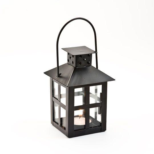 Kate Aspen Luminous Black Mini-Lantern Tea Light Holder with Soy Tea Light, 6 Pack