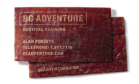 Meat. Survival Training (01). / Школа выживания (Съедобная визитка из вяленого мяса) ••• #Business #Cards