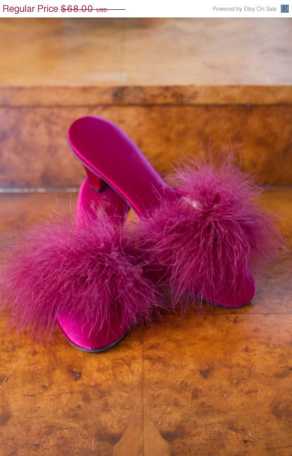 ON SALE 1960's High Heels // Fuchsia Marabou and by GarbOhVintage