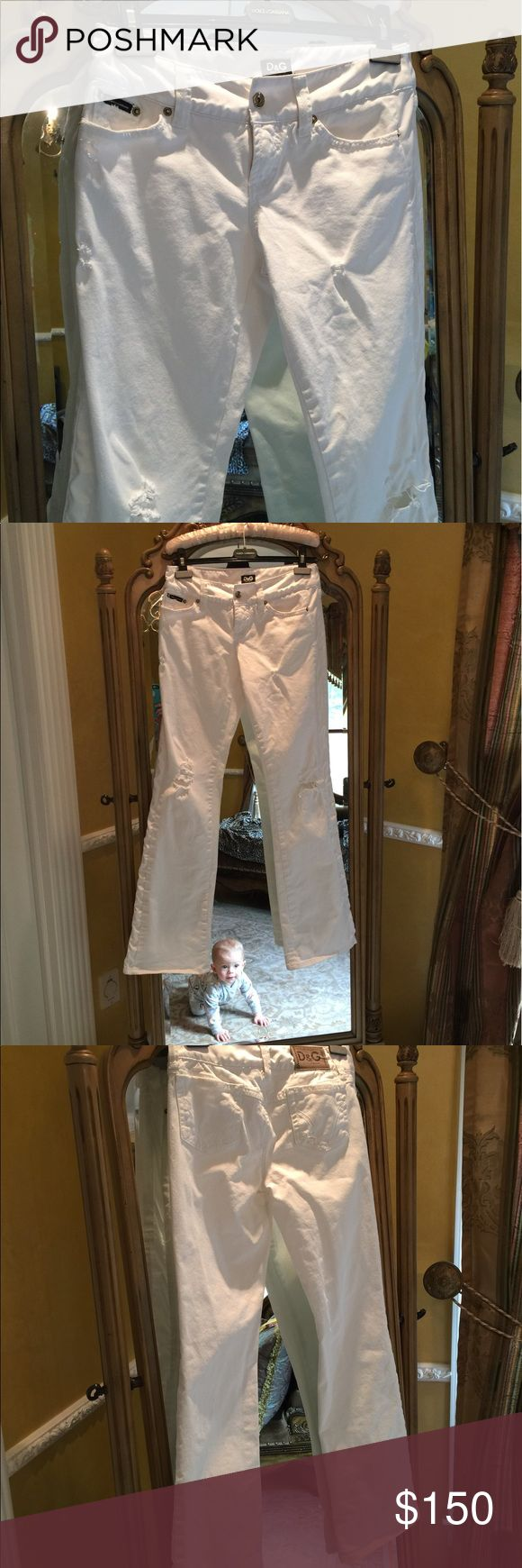 Dolce & Gabbana destroyed denim & satin tux jeans Beautiful low rise white denim jeans with tuxedo white satin like stripes down the side and at the waist band.  Only worn a few times.  Italia size 42 Dolce & Gabbana Jeans Straight Leg