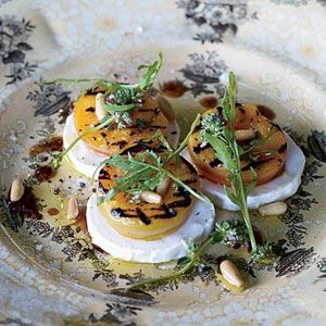 This looks really good.  Thanks Recipe.comGrilled Apricot, Salad Recipes, Goats Chees Salad, Food, Dinner Parties, Pine Nut, Goats Cheese Salad, Arugula, Goat Cheese