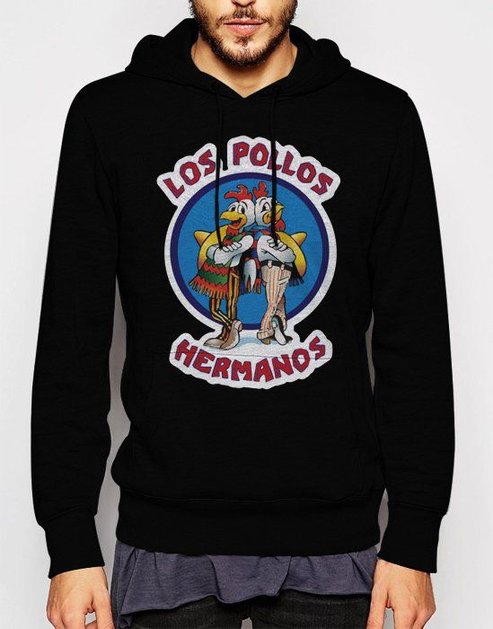 Gift+for+Men+LOS+POLLOS+HERMANOS+Breaking+Bad+chicken+Black+Hoodie