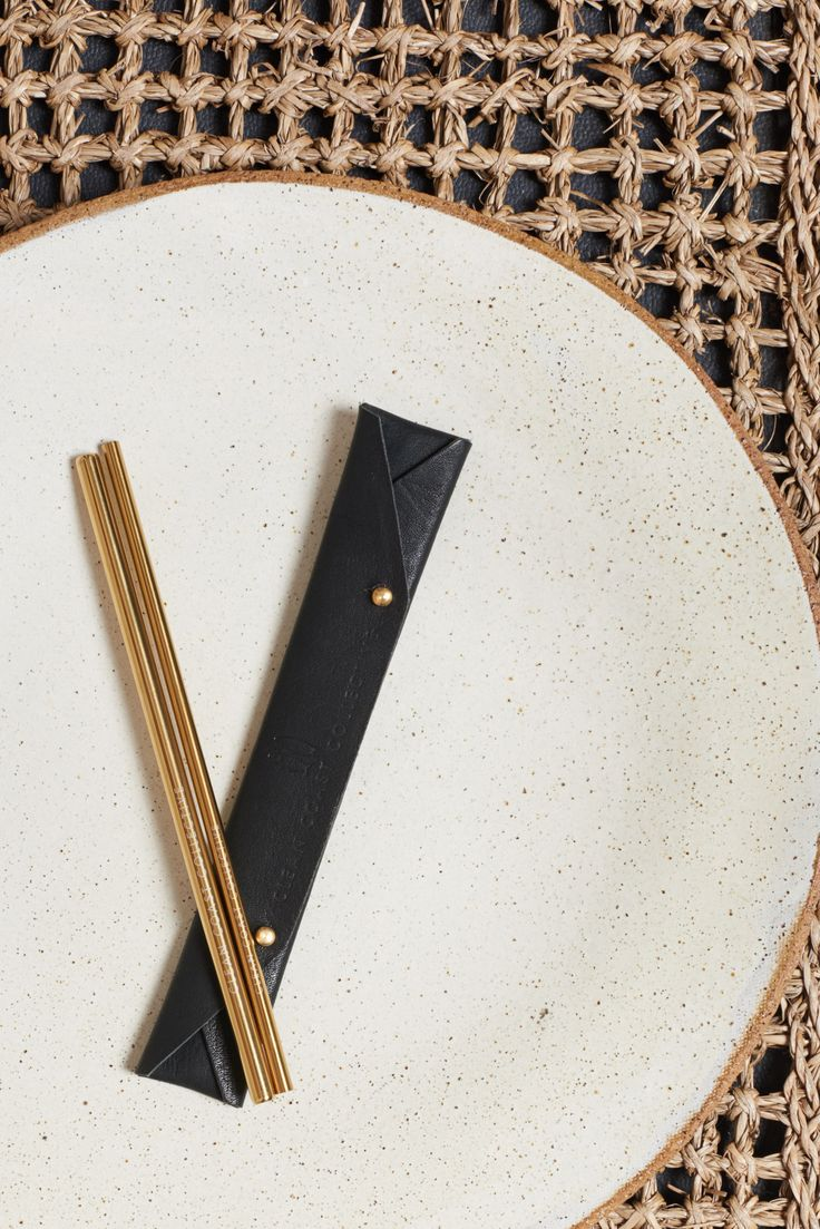 Pacific Gold Straw Set in Midnight Black | www.cleancoastcollective.org
