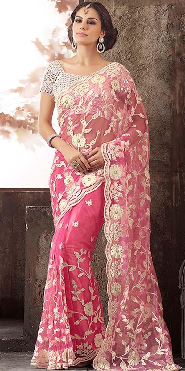 Smashing Pink Net Saree With Blouse.