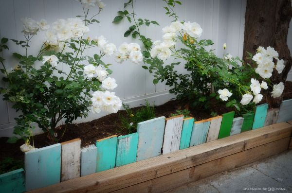 Scrap Wood Garden Edging!  Awesome and a great way to use up scrap wood!!  Color coded any way you want!