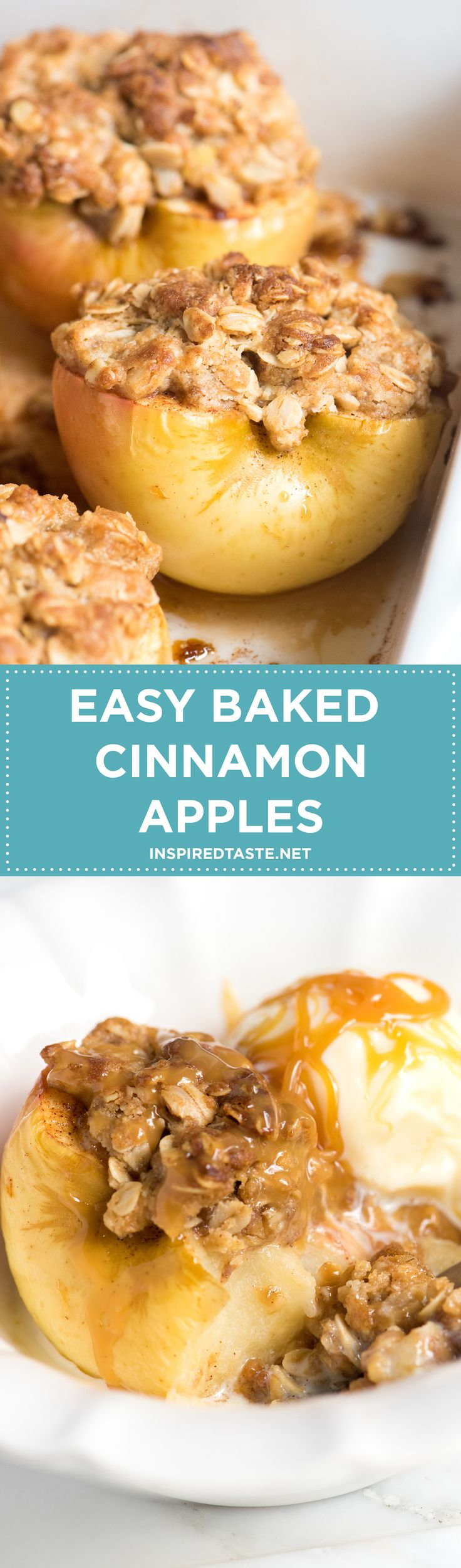 Easy Cinnamon Baked Apples on inspiredtaste.net -- So simple and perfect for the holidays!