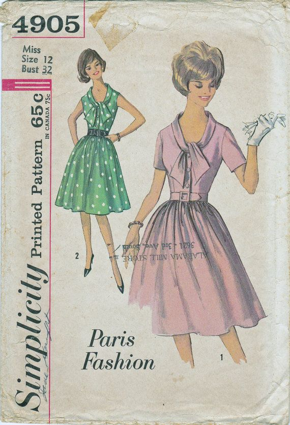 1950s Womens Paris Fashion Dress with Fitted Bodice with Tie Neckline & Gathered Skirt from Simplicity Patterns
