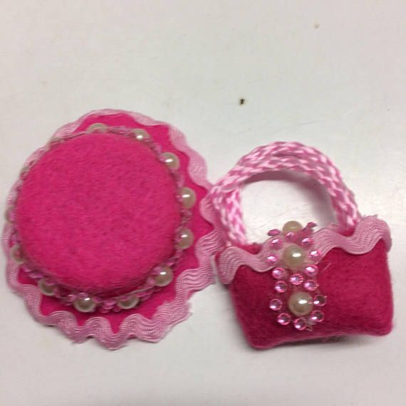 A pretty pink jewelled hat and purse for Barbie. OOAK handmade