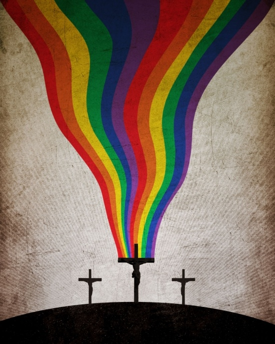 "This image speaks to me of the love flowing out of Jesus for all peoples.      Back before it was appropriated for political purposes, the rainbow stood for a promise from God.    Our youth group in the 80s silkscreened rainbows onto t-shirts with the caption ""Nature is the Art of God""."