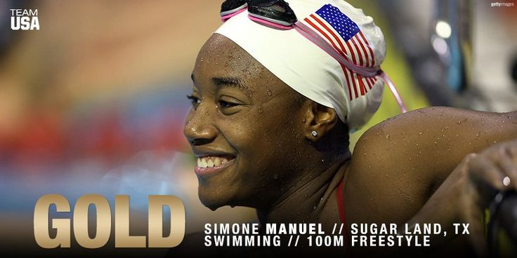 Simone Manuel wins gold 2016 Summer Olympics. 100m freestyle